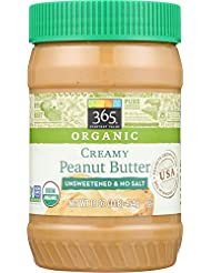 365 Everyday Value, Organic Creamy Peanut Butter Unsweetened & No Salt, 16 Ounce