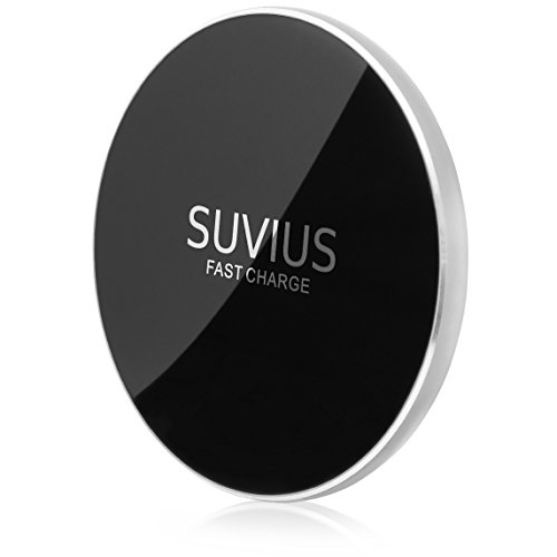 Price comparison product image SUVIUS Fast Wireless Charger for iPhone 8,  8 Plus,  X,  Samsung,  and Note: Quick Charge Cordless Charging Pad for All Qi Enabled Phones / Devices - Ultra Thin - USB Cable Included (Silver)