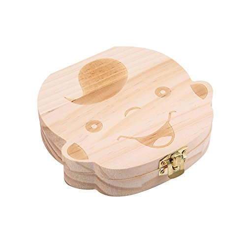 niceEshop(TM) Baby Wooden Teeth Save Box Milk Teeth Wood Case Storage Kids Keepsake Organizer (Boy)
