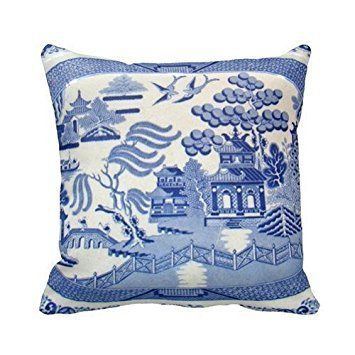 Moslion Blue Willow Pillow - the Perfect Size and Color. Personalized 18x18 Inch Square Cotton Throw Pillow Case Decor Cushion Covers