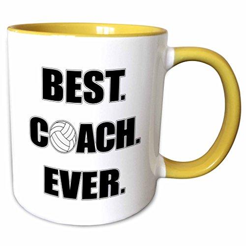 3dRose 195231_8 Volleyball Best Coach Ever, Yellow Mug, 11 oz