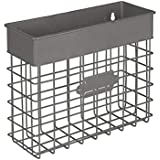 Spectrum Diversified Vintage Wall Mount Small Mail Bin, Office Entryway Organizer Basket Holder for Envelopes, Letters, Bills, Magazines, Catalogs, Files, Notebooks & More, Industrial Gray