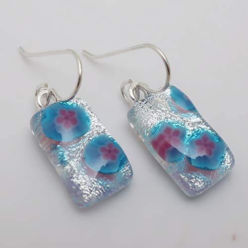 Silver blue pink flower fused dichroic glass dangle earrings .925 sterling silver #124