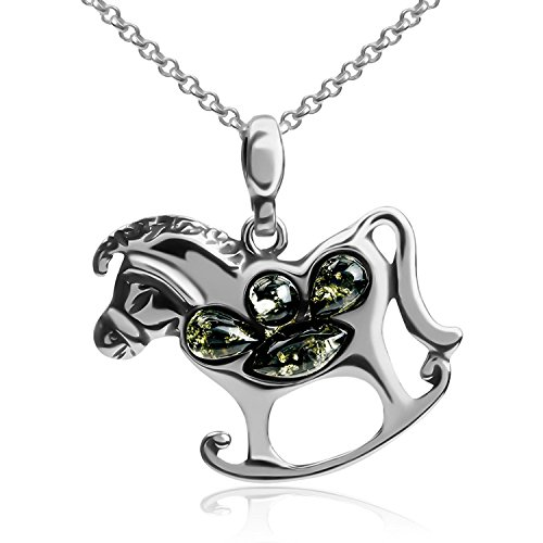 Green Amber Sterling Silver Rocking Horse Pendant Necklace Chain 18