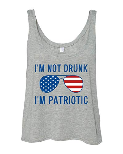 (CreateMyTee | Not Drunk, Patriotic Shades Boxy Tank Top | 4th of July Funny Drinking America Ladies Crop Tank Top (Athletic Heather, Medium))