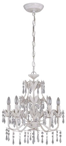 Lite Source C7241 Evelyn 5-Light Chandelier with Prism Crystals, Antique White