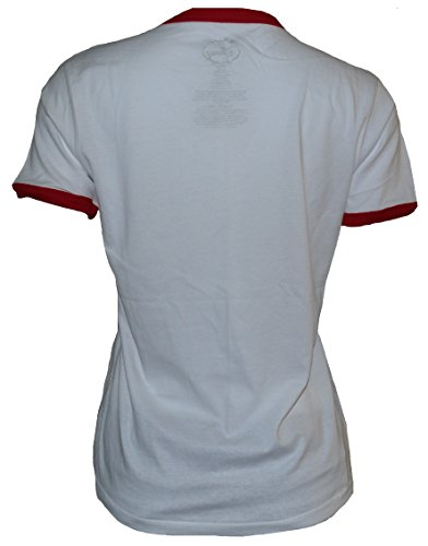 Disney-Womens-Juniors-Distressed-SHY-Minnie-Ringer-T-Shirt-White
