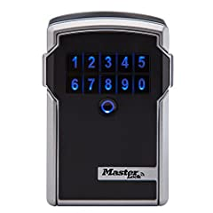 The Master Lock 5441D Bluetooth Wall-Mount Lock Box. Open and manage with your smartphone or with temporary or permanent codes. Monitor who visits and when through the App and notifications. Easily installed using hardware supplied wit...