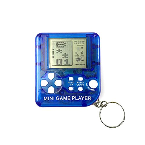 Mini Tetris Game Player Keychain, Portable Game Console with 26 Games, 26 in 1 Anti-Stress LCD Pocket Handheld Game Player for Children and Adults (Blue) ()