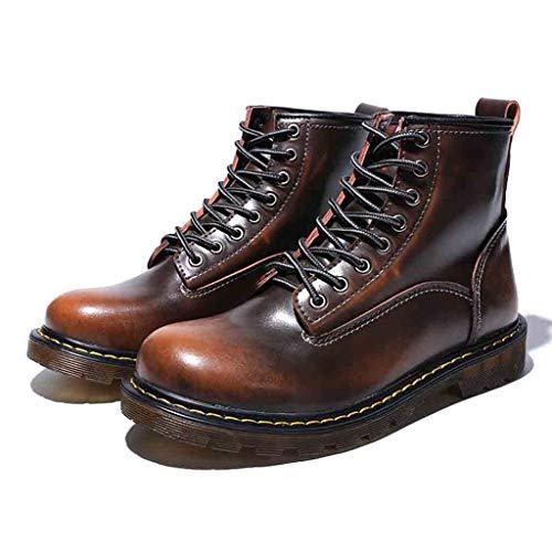 Para Cuero Bestow Zapatos Tacón Boots Mujer Hombre De Invierno Alto Marrón zzZgqw
