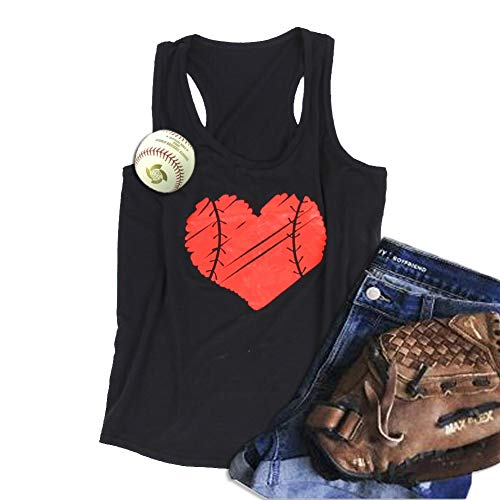 WARMHOL Baseball Mom Heart Print Funny Tank Top Women's Casual Vest Cami T-Shirt Tee Black L ()