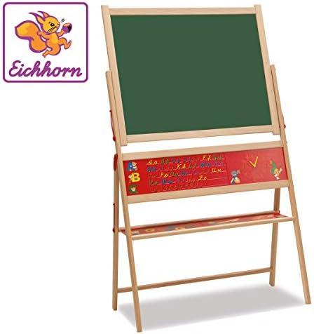 Eichhorn 100002579 Support magnétique en Bois de hêtre avec 48 Lettres magnétiques, 10 craies et éponge 40 x 67 x 110 cm