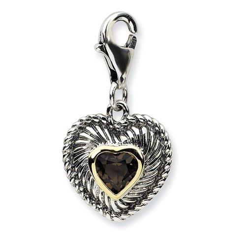 Sterling Silver w/14k Yellow Gold Smokey Quartz Antiqued Heart Charm. .40CT