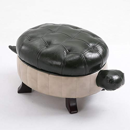 AI XIN Wood Ottoman Footstool with Button, American Retro Leather Upholstered Turtle Footrest Stool, Unique Turtle Shoes Bench Foot Stool (Color : B) ()