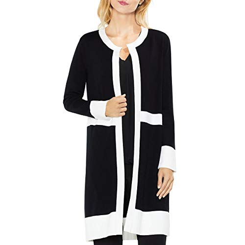 VINCE CAMUTO Womens Long Sleeve Open Front Cardigan Sweater B/W S Rich Black ()