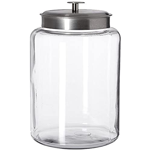 Anchor Hocking Montana Glass Jar With Airtight Lid, Brushed Metal, 2.5  Gallon