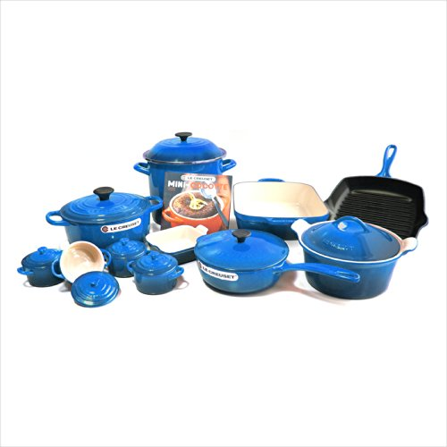 Le Creuset Signature Marseille Blue Mixed 20 Piece Cookware Set