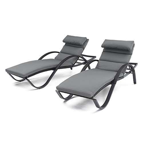 (RST Brands Deco Set of 2 Chaise Lounges Charcoal Grey Cushions)