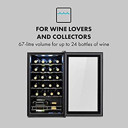 Klarstein Shiraz Uno - Nevera para vinos, 5-18 °C, 42 dB, Panel táctil, Iluminación LED, Altura regulable, Eficiencia energética Ge clase G, 5 baldas, 67 litros, Para 24 botellas de vino, Negro[Clase de eficiencia energética G]