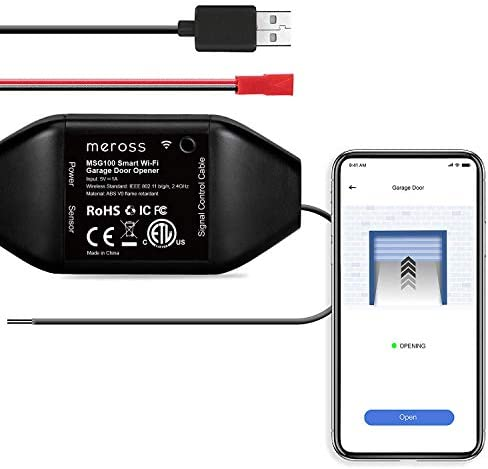 meross Smart Garage Door Opener Remote, APP Control, Compatible with Alexa, Google Assistant and SmartThings, Multiple Notification Modes, No Hub Needed