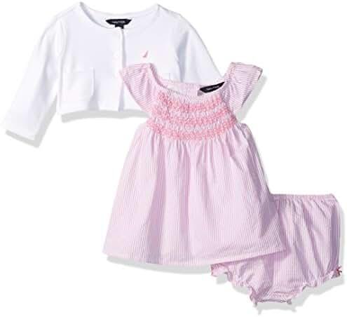 Nautica Baby Girls' Seersucker Woven Dress with Cardigan