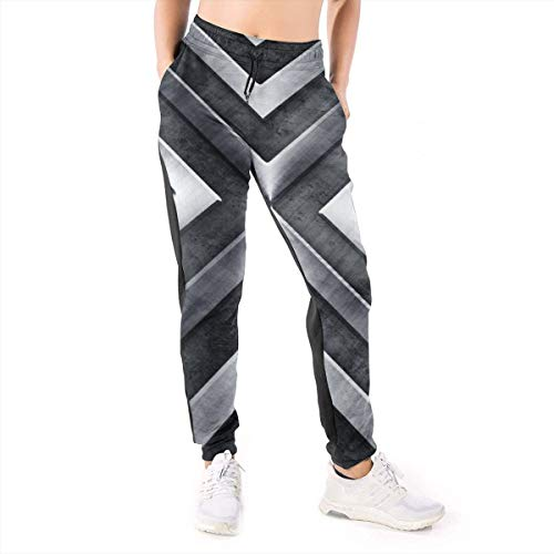Qbeir Women's Jogger Sweatpants with Pockets, Drawstring Waist Color Block Active Yoga Workout Training Running Stretch Pants, Regular Geometry Pattern Lounge Relaxed Fit Casual Pajamas (Lounge Regent)