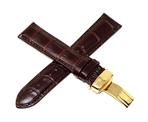Lucien Piccard 22MM Alligator Grain Genuine Leather Watch Strap Band Brown with Gold Stainless Steel LP Clasp