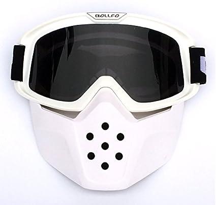 HCMAX Moto Des lunettes de Protection Avec Masque facial D/étachable Harley Style Casque Anti-bu/ée Coupe-vent /Équitation Des Lunettes de Soleil Cadeau de la Saint-Valentin