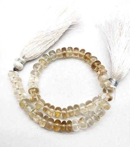FBA Sale Natural Imperial Topaz Bead 6 mm, Rondelle & Smooth with 8 Inch Long. SJ27 ()