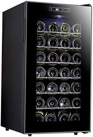HUATINGRHHO Silencioso Vinoteca de 28 Botellas Nevera para Vinos con Compresor, Silencioso Enfriador con 6 estantes Espacio Control Táctil Iluminación LED Enfriador Puerta Cristal