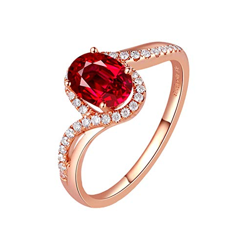 MoAndy Rose Gold 18K Female Rings Statement Ring Ruby 1ct & Diamond Red Size 9 ()