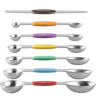 Magnetic Measuring Spoons Stainless Steel Dual Sided Stackable Teaspoon Tablespoon for Measuring Dry and Liquid Ingredients