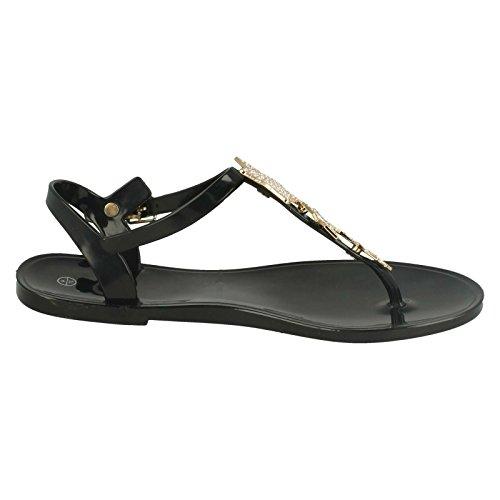 Ladies Toe Post Sandals With Star Detailing Black ncEE0Vuuz