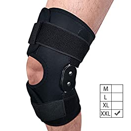 FunCee Hinged Knee Brace, 4 available sizes Adjustable Compression Wrap for Men & Women, Knee Support for ACL, Tendon, Ligament & Meniscus Tear Injuries, Sport in Gym Basketball Running Hiking (XXL)