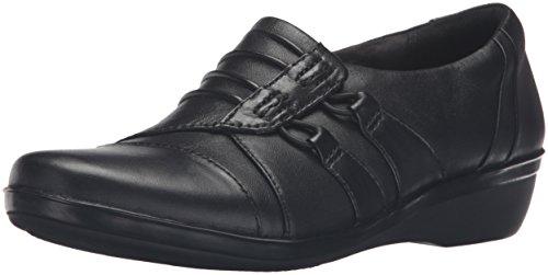 Clarks Womens Everlay Easley Slip-on Loafer Svart Läder