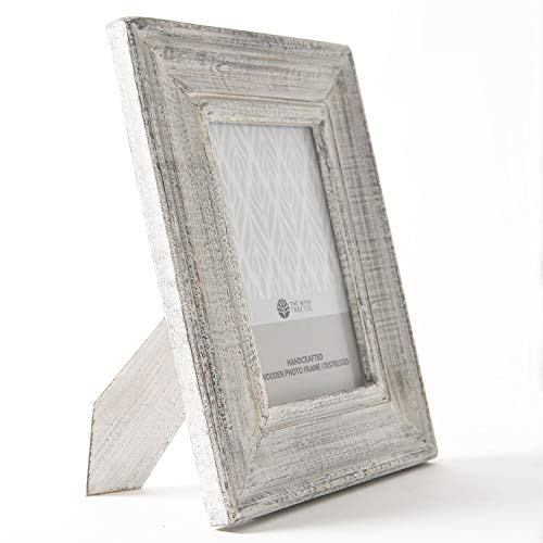 The Wish Tree Co.. (White, 5x7 Distressed Finish Natural Wood Rustic Photo Frame with Easel, Non Rust Clips, Table Top, Glass Front, for Bedroom, Desk, Living Room