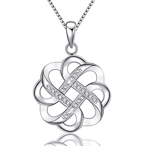 (EURYNOME 925 Sterling Silver Endless Love Vintage Irish Celtic Knot Pendant Necklace for Women Jewelry Christmas Gifts)