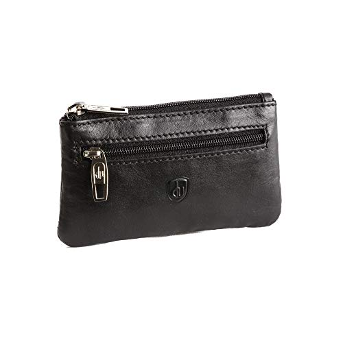 dv Key Pouch for Men and Women in Genuine Leather Key Case Coin Holder with Zip Black
