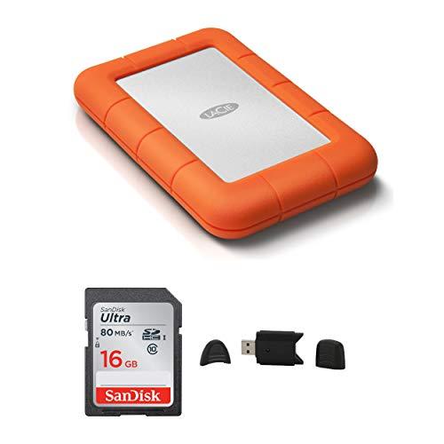 LaCie Rugged USB 3.0 1TB Mini Hard Drive + Sandisk Ultra 16GB Class 10 SD Memory Card + MMC MultimediaCard & SD Secure Digital Reader USB Bundle
