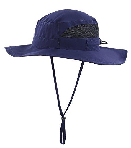 Connectyle Men's Outdoor Mesh Boonie Sun Hat Summer Wide Brim UV Protection Fishing Hat Safari Cap Navy Blue -