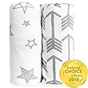 Crib Sheet Set 100% Jersey Cotton | 2-Pack | Fitted Cotton Baby & Toddler Universal Crib Sheets For Boy | Mattress Bedding Sets | Comfy Changing Pad Cover | White Sheets | Nursery Accessories