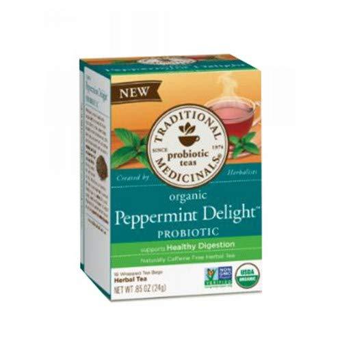 - Traditional Medicinals, Tea Herbal Peppermint Delight Probiotic Organic, 16 Count