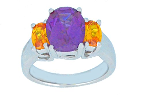 Elizabeth Jewelry Created Alexandrite & Simulated Citrine Oval Ring .925 Sterling Silver Rhodium Finish