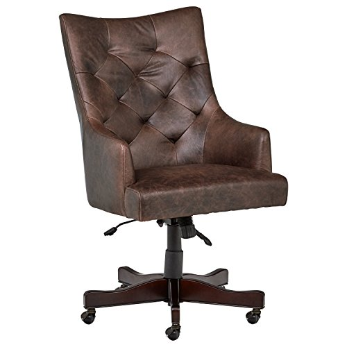 Cheap Stone & Beam Leather Swivel Office Chair on Wheels, 26.4″W, Brown