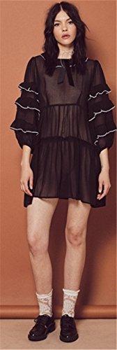 Volante Manga Larga Blanco Contrast Piping Manga de Obispo Plisado Shirt Minivestido Mini de Corte de Vuelo Trapecioe Maternidad Dress Vestido Negro