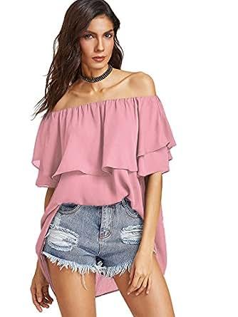 SheIn Women's Off Shoulder Chiffon Ruffle Sleeve Blouse Top X-Small Pink