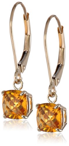 10k Yellow Gold Cushion Checkerboard Cut Citrine Leverback Earrings - Earrings Citrine Checkerboard