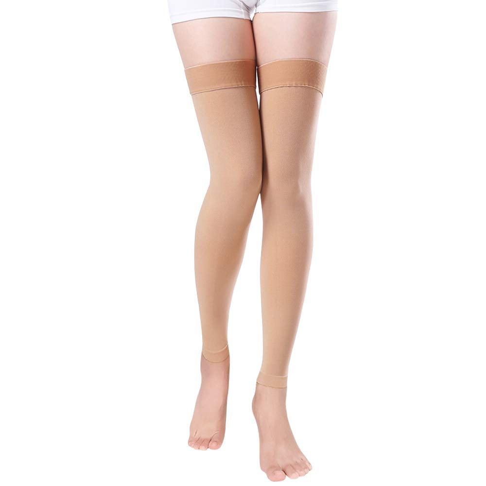 Footless Compression Stockings Women Men, Thigh-High Firm Support 20-30 mmHg Graduated Compression Socks - Moderate Medical Support Hose Swelling Varicose Veins Edema (Beige, Small)