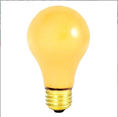 - 24 Pack 60 Watt Medium Base A19 Yellow Bug Light 130 Volt 2500 Hour Incandesc...