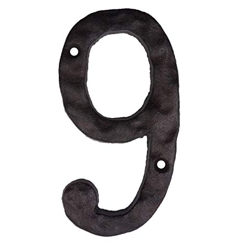 - Cast Iron House Numbers- 6 Inch Rustic Address Number- Solid & Heavy Duty/Easy Install with Matching Screws (6 Inch, 9 or 6)